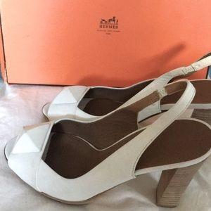 Hermes White Platform Shoes